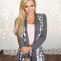 All In Sequins Elbow Patch Cardigan Charcoal