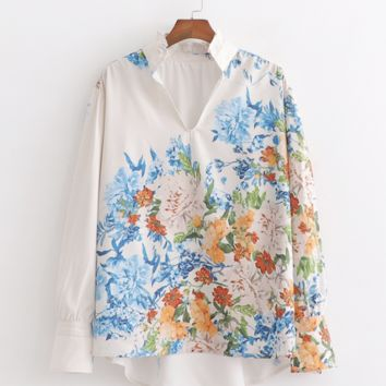 Collar fashion flower print shirt loose hundred tower casual blouse female