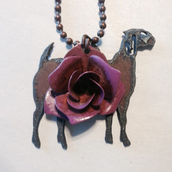 Flower GOAT Necklace made of Rustic Rusty Rusted Recycled Metal with painted flower