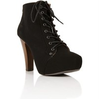 Black Faux Suede Lace Up Hidden Platforms