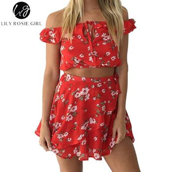 Lily Rosie Girl Off Shoulder Boho Red Floral Print Two Piece Dress Women Summer Beach Ruffles Sexy Short Warp Dresses Vestidos
