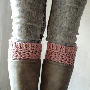 Easy Boot Cuffs for Beginners - CROCHET PATTERN ONLY - Paris Dreams Boot Cuffs - Pink view