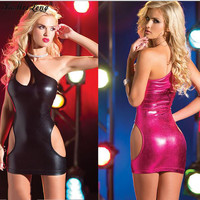 Women PU Sexy Erotic Lingerie Hoy Lenceria Sexy Babydoll Sleep Wear Leather Dress Nightdress Short Dress Sleepwear For Women