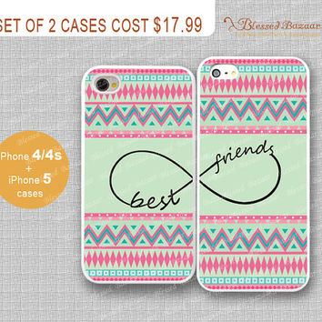 Best friends, infinity and Aztec iPhone 4/4s Case, iPhone 5 Case, iPhone Hard Plastic /Soft Rubber Case,Personalized iPhone Case,water proof