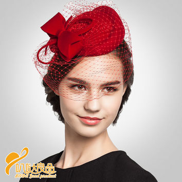Vintage British Winter Women Wool Fedora Hat Elegant  lady Party Top Hat Fedoras Fashion Veil Church Wedding Cap Hat Headdress
