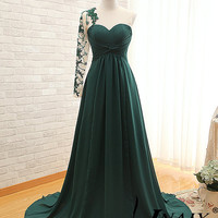 Long Sleeve Prom Dress Sweetheart A Line Pleated Dark Green One Shoulder Long Sleeve Crystal Lace Prom Dresses Long Sleeve Evening Dress