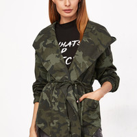 Olive Green Camo Print Hooded Shawl Collar Wrap Jacket EmmaCloth-Women Fast Fashion Online