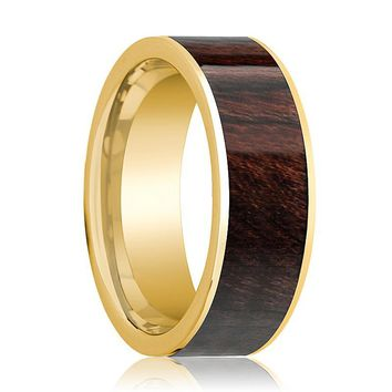 Mens Wedding Band 14k Yellow Gold & Bubinga Wood Inlaid Polished Finish  - 8mm