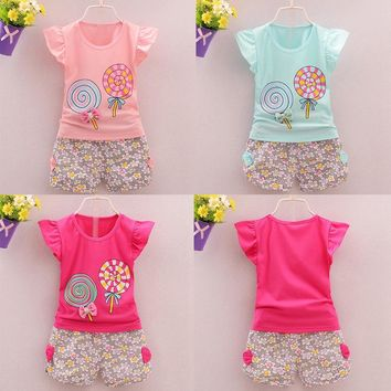Two Piece Toddler Baby Girl Lollipop Outfit