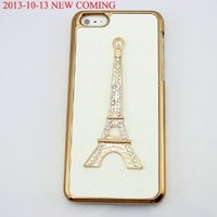 bling 3D diamond clear crown shoe girl eiffel hard back Case cover for Iphone 5C (eiffel)
