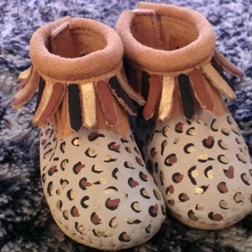 Custom Painted Cheetah Leopard Baby Moccasins