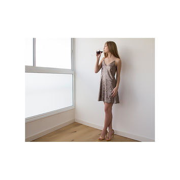 Bronze Sequin Mini Dress LAVELIQ