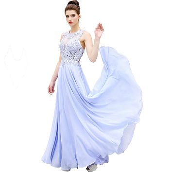HONGFUYU Sexy O Neck A Line Ombre Chiffon Lace Beaded Maroon Lavender Long Prom Dresses Backless Court Train robe de soiree