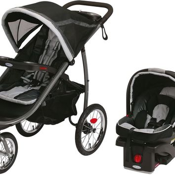 Graco Baby FastAction Click Connect Travel System w/ Infant Car Seat Gotham
