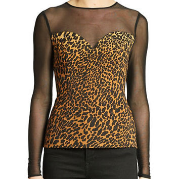 Guess Sheer Yoke Cheetah Print Top