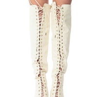 Ivory Faux Leather Pin Up Thigh High Peep Toe Boots