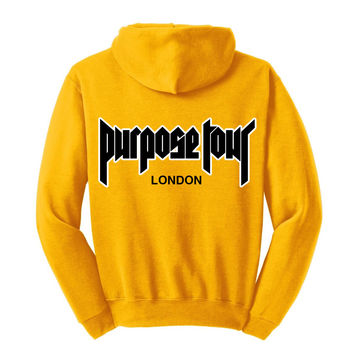 "Justin Bieber ""Security / Purpose The World Tour London 2016 / Black & White Purpose Tour"" Unisex Adult Yellow Gold Hoodie Sweatshirt"