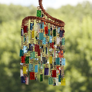 Stained Glass - Colored Glass - Wind Chimes - Sun Catcher - Garden Art - OOAK - Spiral Punk Rock Whirligig