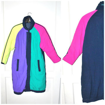 COLOR BLOCKED 80s ski jacket vintage 1980s NEON color blocking long insulated winter coat small