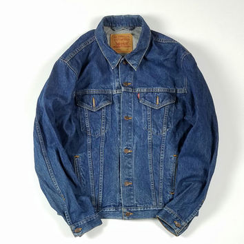 Levi's Denim Trucker Jacket Size 46L Made In USA