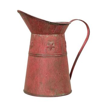 Rusty Red Star Embossed Decorative Pitcher