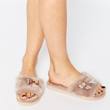River Island Fluffy Open Toe Slippers With Bow Detail