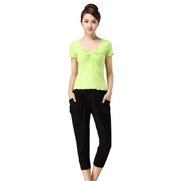 Free Shipping Short Sleeves Yoga Suit Lady Dance Sets Seven Short Sleeved Pant Solf Women Sport Running Sets Top Sale DL 60
