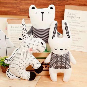 Black and white color Rabbit Unicorn Bear Pillow Cushion Toys, Cotton Animal Plush Toys, Children's Toys, Baby Room Decoration
