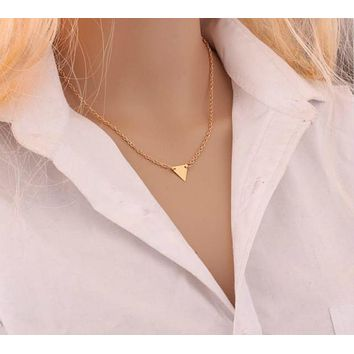Women's Simple Triangle Geometric Dainty Fashion Necklace Gold Tone