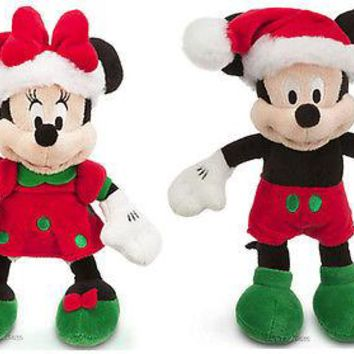 Licensed cool 2013 Disney Store Santa MICKEY & MINNIE Mouse Holiday Plush Bean Bag Toy Doll