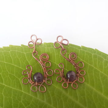Amethyst stud earrings - Amethyst  jewelry Boho earrings Boho jewelry Wire wrapped jewelry Copper wire earring Bohemian jewelry Stud earring