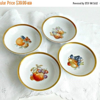 SALE Golden Crown E&R 1886 Bavaria Germany Orchard Harvest Fruit Bowls, Set of Four (4), Antique Bavarian Porcelain Fruit Bowls.
