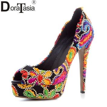 DoraTasia 2017 Large Size 33-43 Colorful Ethnic Style Thin High Heels Women Pumps Platform Elegant Leisure Shoes Embroidery