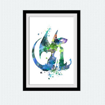 Toothless watercolor art print How to train your dragon colorful poster Home decoration Kids room decor Nursery room wall poster W475