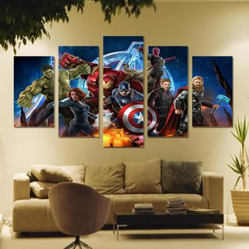 Avengers Animation Comics 5 panel wall art room decor