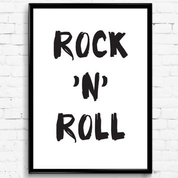 Rock'n'Roll Black and White Wall Print, Digital Download Decor, Digital Art, Printable Wall Art