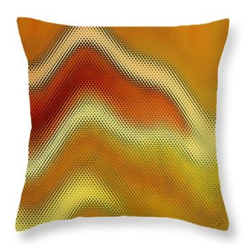 """Red Orange And Yellow Glass Waves Throw Pillow for Sale by Ben and Raisa Gertsberg - 16"""" x 16"""""""