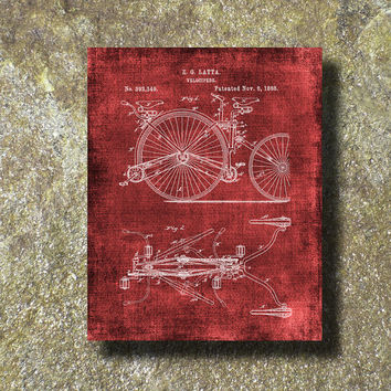 Velocipede Patent Print 1888 Art Illustration Printable Instant Download Poster UP081red