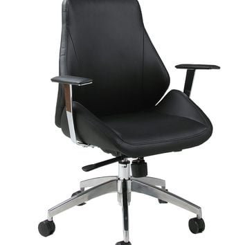 Isobella Office Chair in chrome/aluminum upholstered in Pu Black