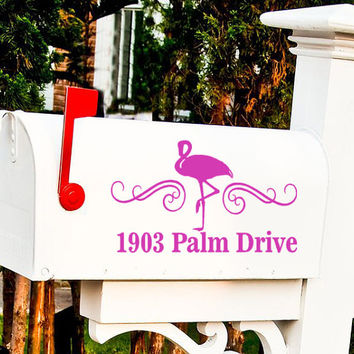 Flamingo Custom Mailbox Decal Sticker Set,  Address Sticker, Beach decor, curb appeal coastal garden