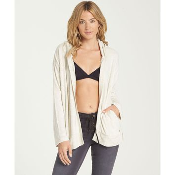 Billabong Women's Down In Front Super Soft Cardigan Sweater Sweatshirt | Ice Athletic Grey