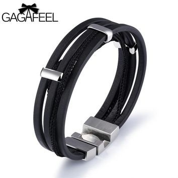 GAGAFEEL Real Leather Punk Men Bracelet & Bangle 316L Stainless Steel Bracelets Wrap Chain Cowhide Jewelry With Delicate Clasp