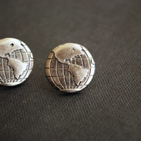 Globe Earrings -- World Studs, Earth Day, Mother Earth, Silver Globe Studs, Environment