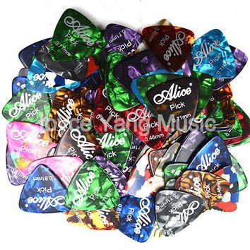 Lots of 100pcs Alice Medium Triangle Pearl Celluloid Guitar Picks Plectrums 0.46/0.71/0.81mm Free Shipping