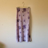 Vintage Skirt - Clueless 1990s Long Pencil Maxi Skirt Mall Fashion Pastel Purple Rose