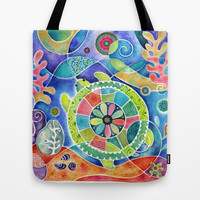 Sea Turtle Abstract Tote Bag by Janet Broxon