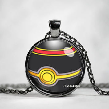 Luxury Pokeball Pendant, pokemon go, pokemon jewelry, pokemon necklace, japanese anime, fan art,pokeball necklace