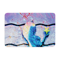 "Anne LaBrie ""Mermaid Starlight"" Aqua Blue Memory Foam Bath Mat"