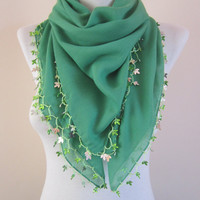 Green Crochet Scarf,Beaded Scarf,Cotton Scarf,Boho Scarf