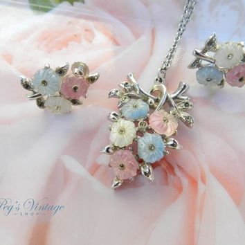 Vintage Coro Pastel Flower Necklace & Screw On Earring Set, Pink, Blue And White Floral Necklace Set